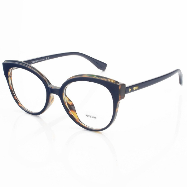 Armação de Óculos Gatinho Arredondado Fendi FF0280 Azul e Tartaruga