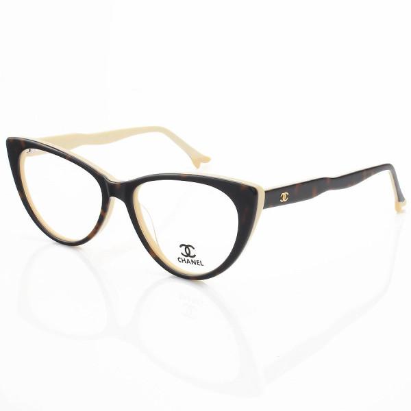 Armação de Óculos Gatinho Chanel CH80512 Sapatinho Tartaruga e Creme