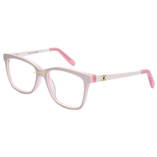 Armação de Óculos Quadrada Chanel X3272 Branco e Rosa