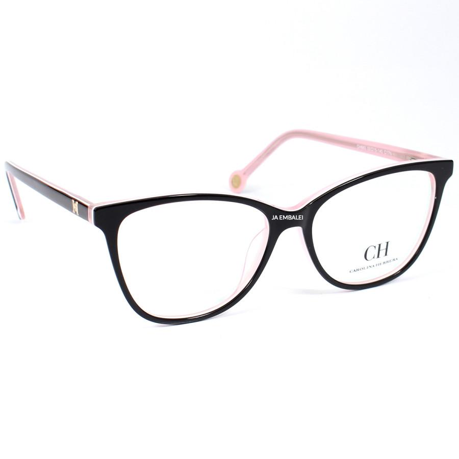 Óculos Armação de Grau - Carolina Herrera CH683 - Preto e Rosa
