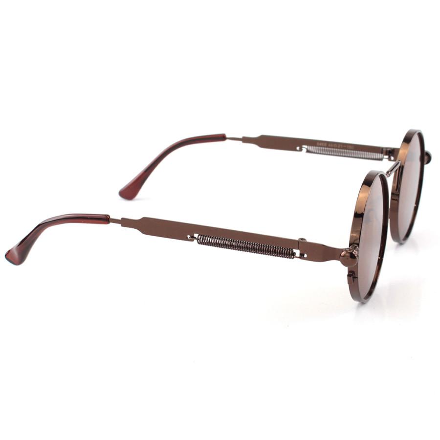 Óculos de Sol Redondo Retrô Vintage Detalhes Em Parafuso e Mola Marrom