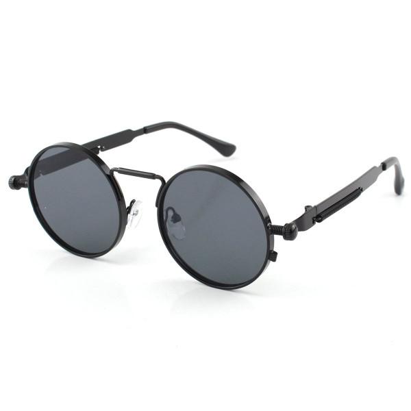 Óculos de Sol Redondo Retrô Vintage Detalhes Em Parafuso e Mola Preto