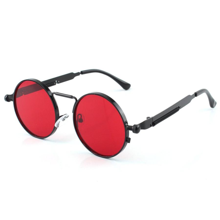 Óculos de Sol Redondo Retrô Vintage Detalhes Em Parafuso e Mola Red