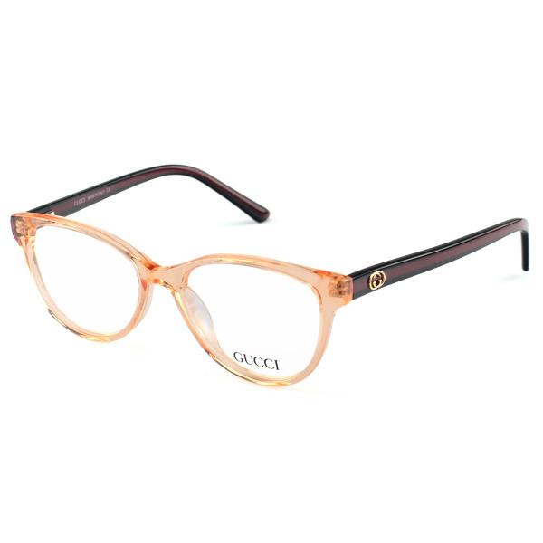 Armação de Óculos Oval Gucci GG7210 - Laranja e Preto