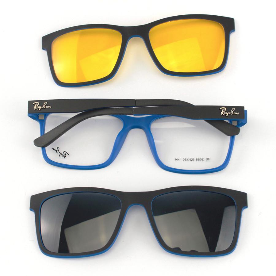Armacao de Óculos Clip On Ray-Ban 2088 Preta e Azul