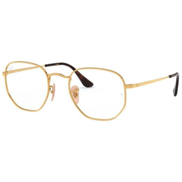 Armacao de Óculos Ray-Ban RX 6448 Hexagonal Dourada