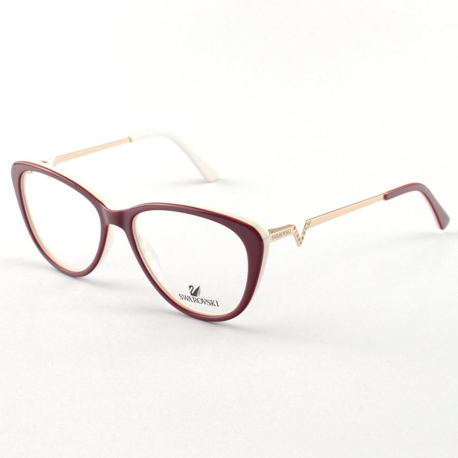 Oculos Armação de Grau Swarovski SK5232 Vermelho e Branco