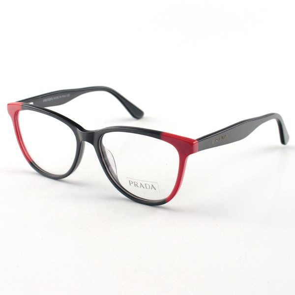 Armacao de Óculos Prada PR 05UV Acetato Preta e Vermelha