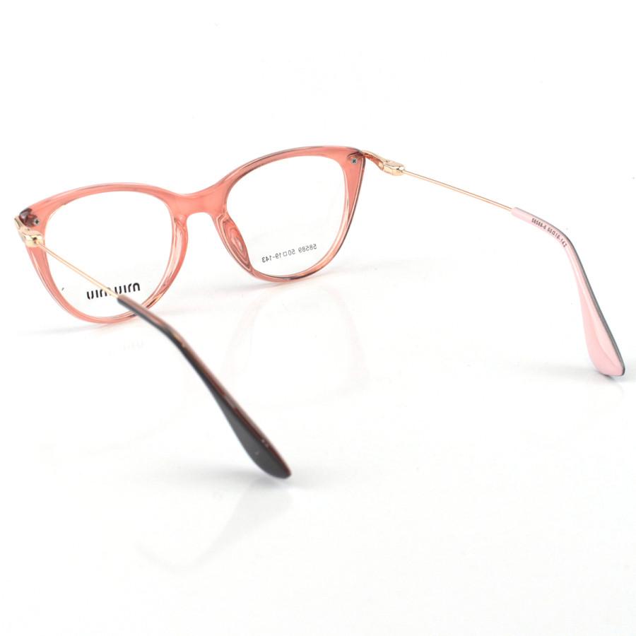 Armacao de Óculos Feminino Miu Miu 58589 Preto e Rosa