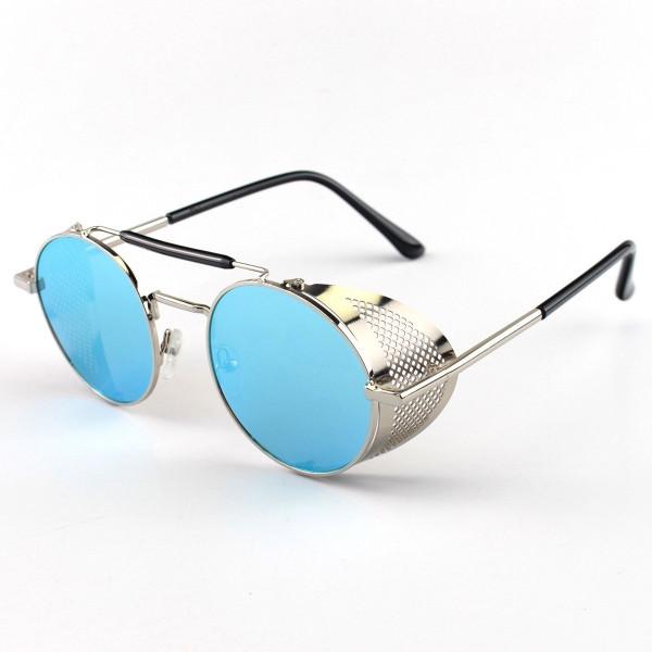 Óculos de Sol Redondo Retrô Vintage 66247 Steampunk Prata e Azul