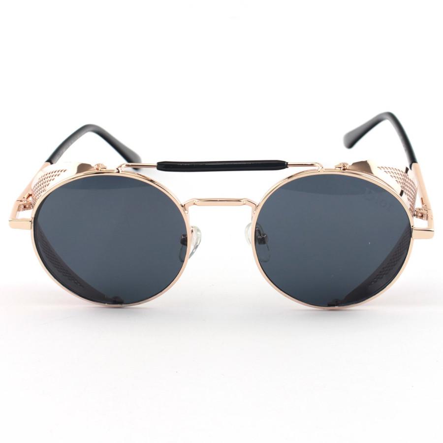 Óculos de Sol Redondo Retrô Vintage 66247 Steampunk Dourado