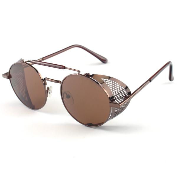 Óculos de Sol Redondo Retrô Vintage 66247 Steampunk Marrom