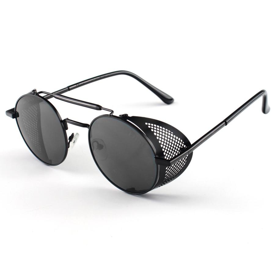 Óculos de Sol Redondo Retrô Vintage 66247 Steampunk Preto