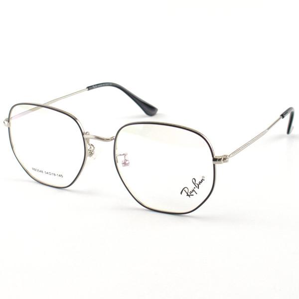 Armacao de Óculos Ray-Ban RX 6448 Hexagonal Cinza e Preto