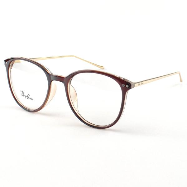 Armação de Óculos Rendonda Ray-Ban RX006 Marrom e Dourada
