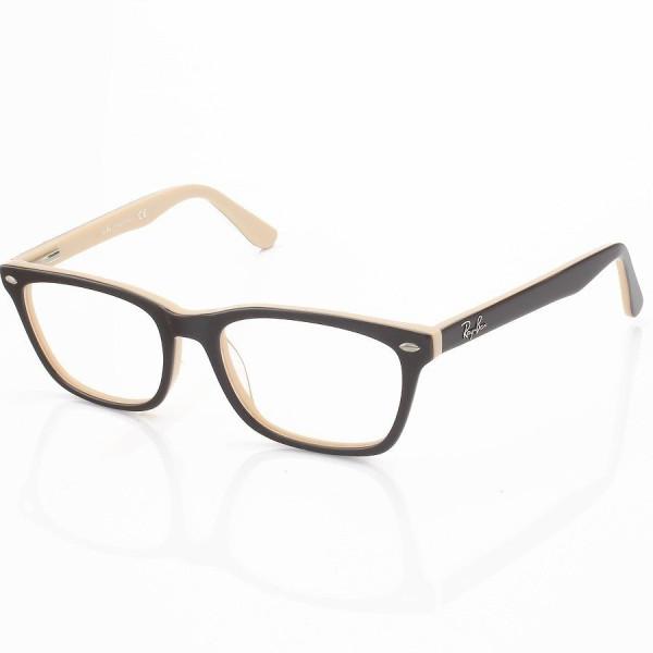 Armação de Óculos Retangular Ray-Ban RB5281 Marrom e Creme