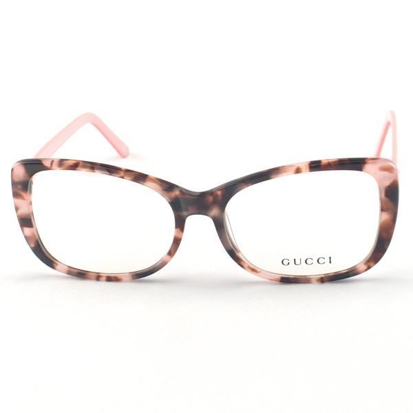 Armação de Óculos Quadrado Gucci GG0288 Tartaruga e Rosa