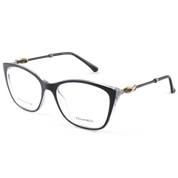 Armacao de Óculos Quadrada Tiffany & Co TF2160 Preto e Azul Celeste