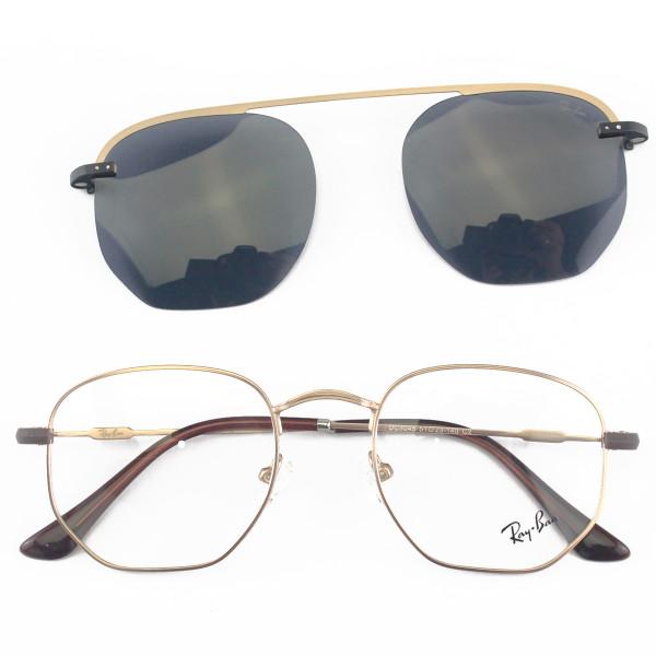 Armacao de Óculos Clip On Hexagonal Unissex Ray-Ban DC3045 Dourado