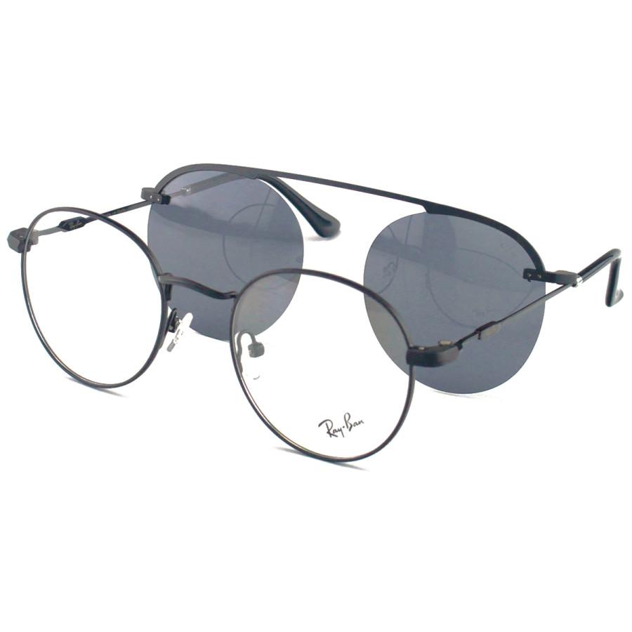 Armacao de Óculos Clip On Round Redondo Unissex Ray-Ban DC3042 Preto