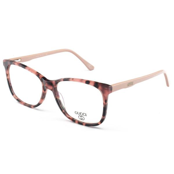 Armação de Óculos Quadrado Gucci GG03320 Tartaruga Rosa