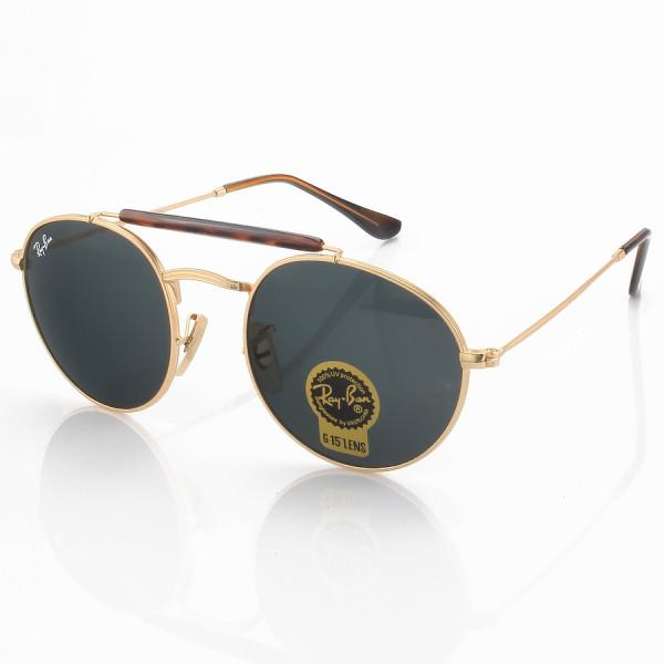 Óculos de Sol Ray-Ban RB3747 Redondo Dourado e Lente Preta