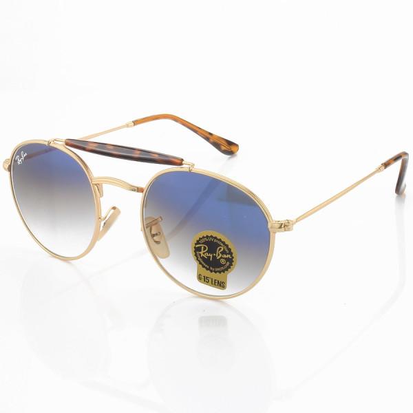 Óculos de Sol Ray-Ban RB3747 Redondo Dourado e Lente Azul Degrade