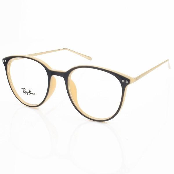 Armação de Óculos Rendonda Ray-Ban RX006 Marrom e Creme