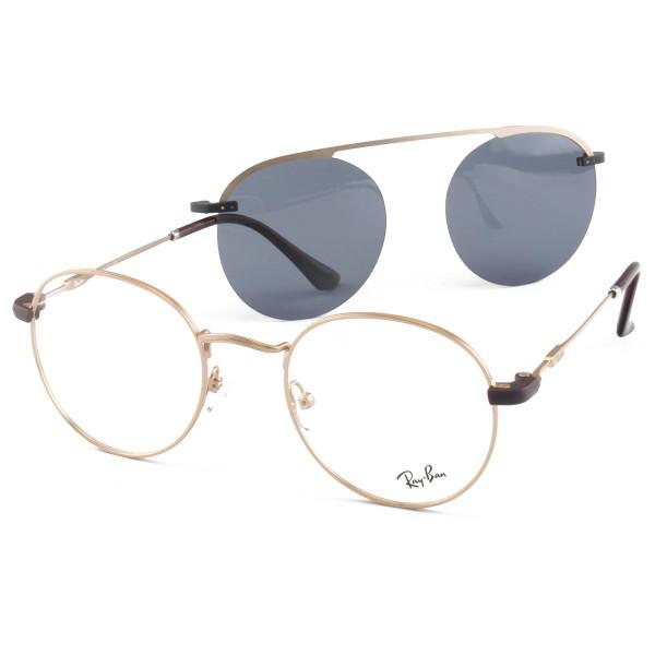 Armacao de Óculos Clip On Round Unissex Ray-Ban DC3042 Dourado