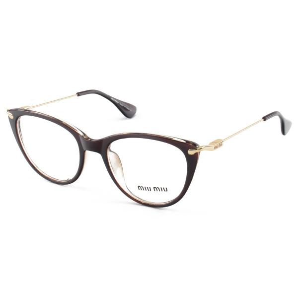 Armacao de Óculos Gatinho Feminino Miu Miu 58589 Marrom Trasluscido