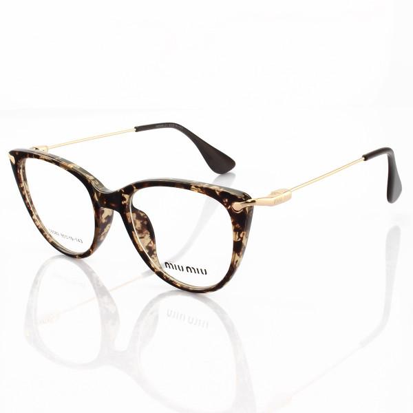 Armacao de Óculos Gatinho Feminino Miu Miu 58589 Tartaruga Claro