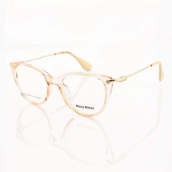 Armacao de Óculos Gatinho Feminino Miu Miu 58589 Creme Transparente