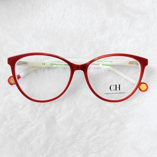 Armacao de Óculos Gatinho Carolina Herrera VHE772 Vermelho e Branco