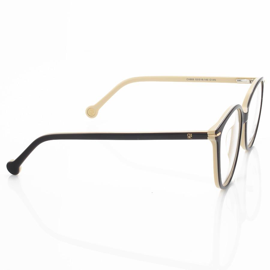 Óculos Armação de Grau - Carolina Herrera Vhe669 Preto e Creme