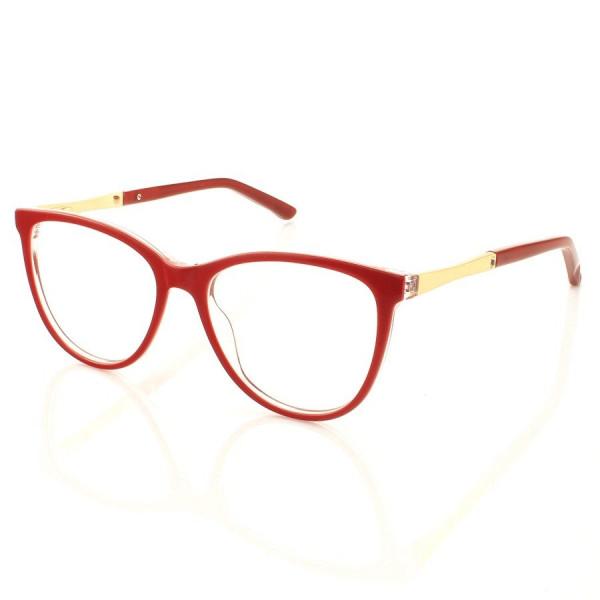 Armacao de Óculos Oval LQ0145 Vermelha e Dourada