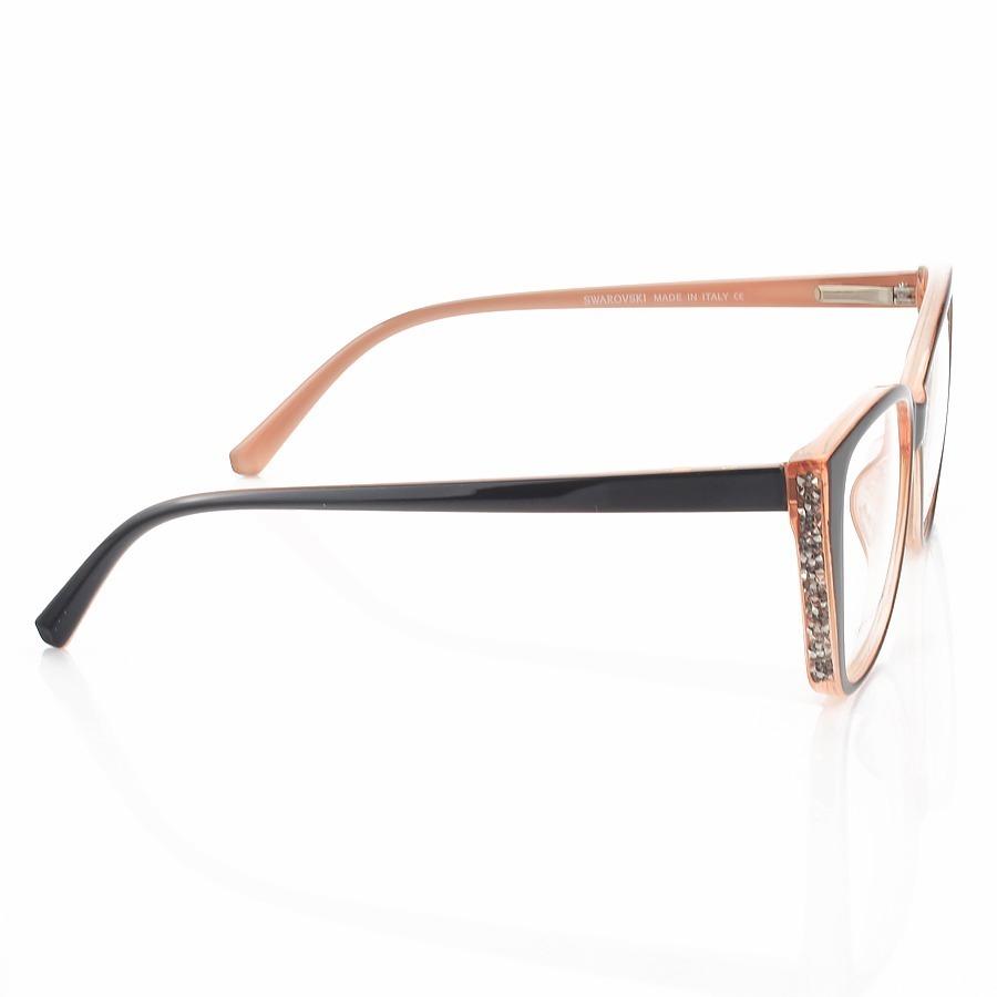 Armação de Óculos Quadrado Swarovski SW58725 Preto e Rosa