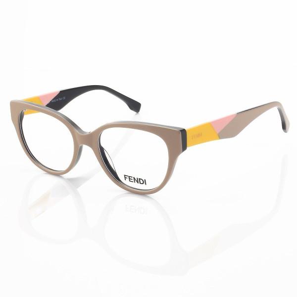 Armação de Óculos Oval Fendi FD3260 Nude e Amarelo