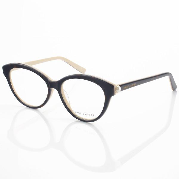 Armação de Oculos Gatinho Marc Jacobs Mj25 Tartaruga e Creme