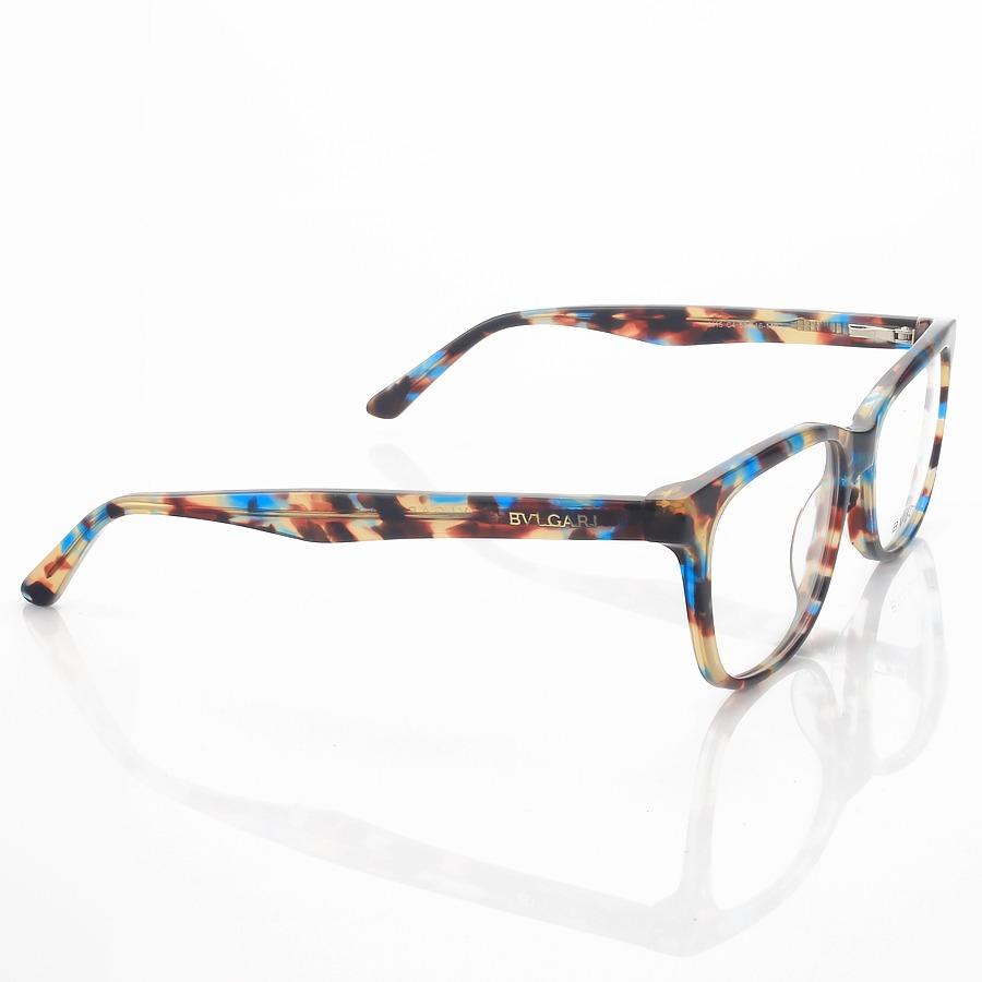 Armação de Óculos Retangular Bulgari 4115 Azul Tartaruga