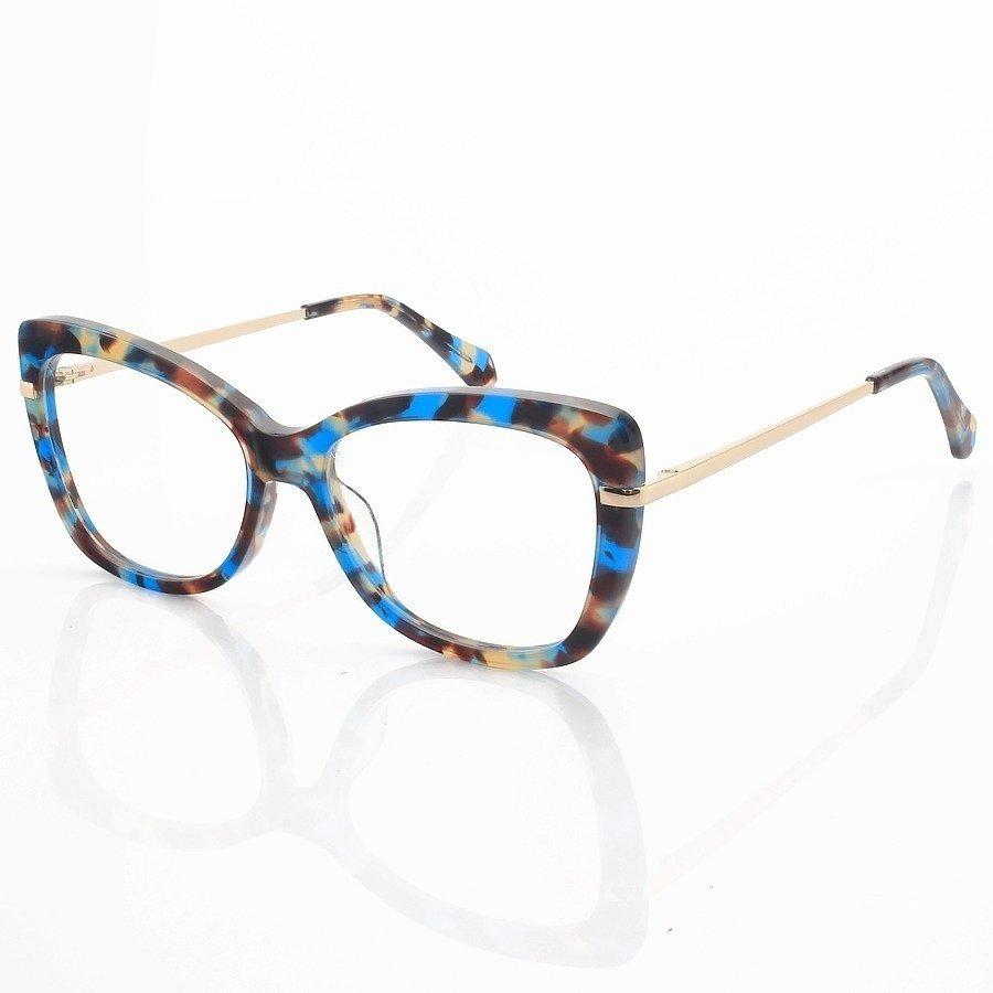 Armação de Oculos Quadrada Mj545 Azul Tartaruga
