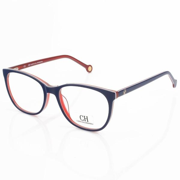 Armação de Óculos Quadrado Carolina Herrera CH659 Azul com Vermelho