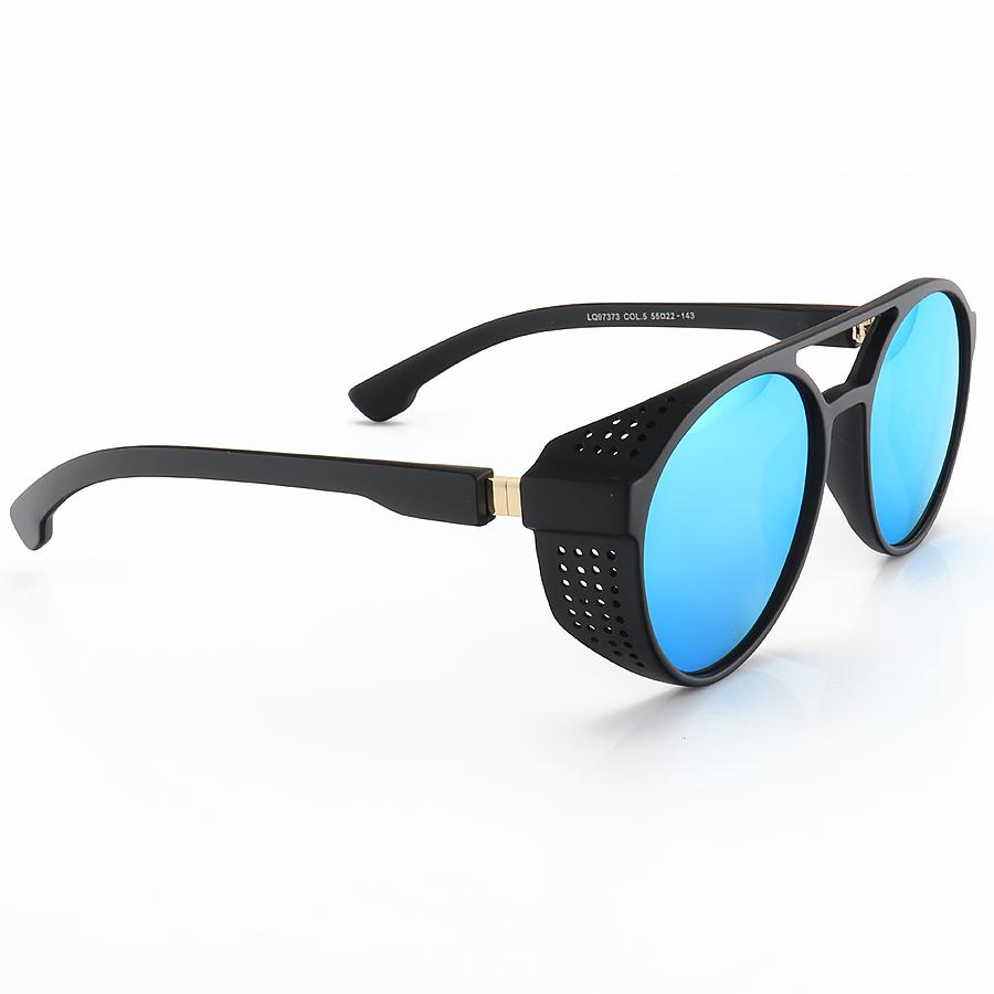 Óculos de Sol Redondo Retrô LQ97373 Steampunk Shields Preto e Azul