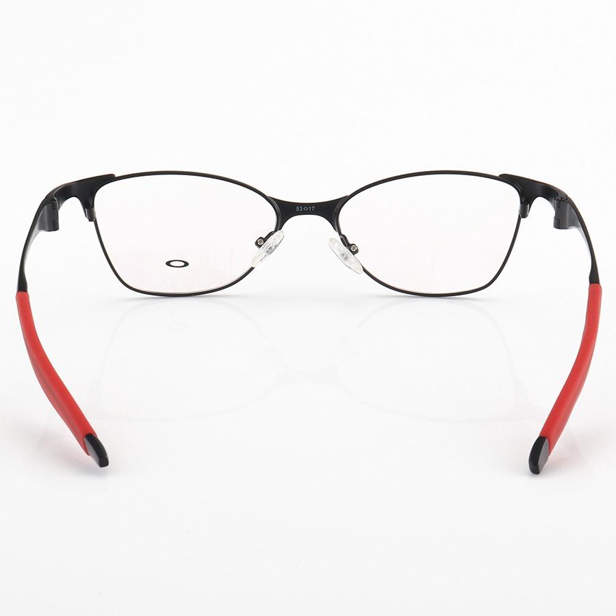 Armação de Óculos Oval Oakley Metal Bracket 8.1 Preto e Vermelho