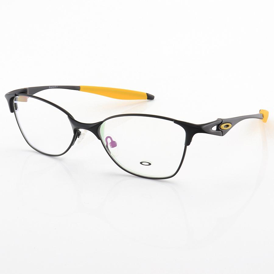 Armação de Óculos Oval Oakley Metal Bracket 8.1 Preto e Amarelo