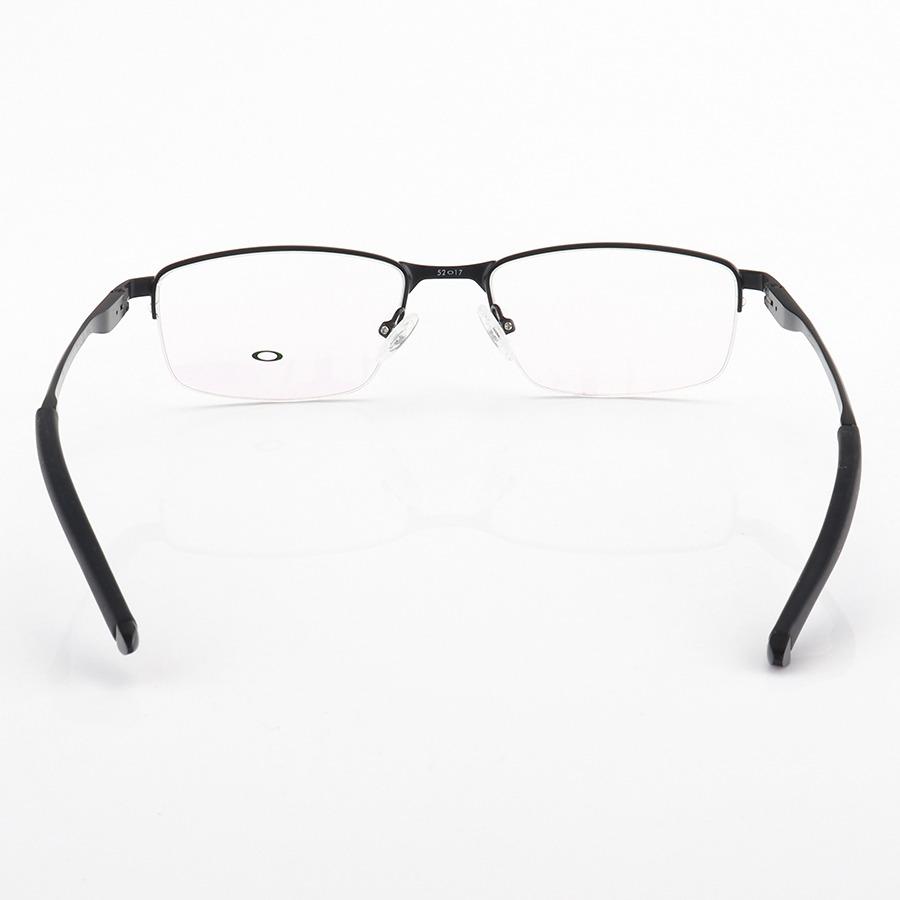 Armação de Óculos Oval Oakley Metal Meio Aro OX3218 Preto