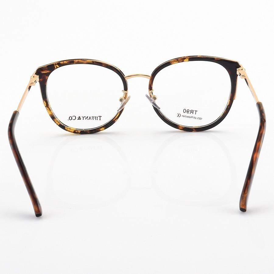 Armação de Óculos Quadrada Tiffany & Co LQ95559 Marrom Tartaruga