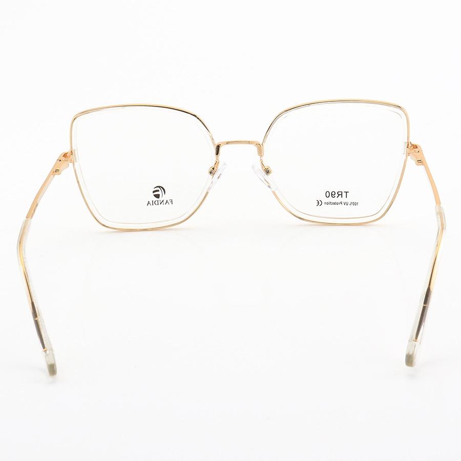 Armação de Óculos Quadrada Lola 95570 Dourada e Transparente