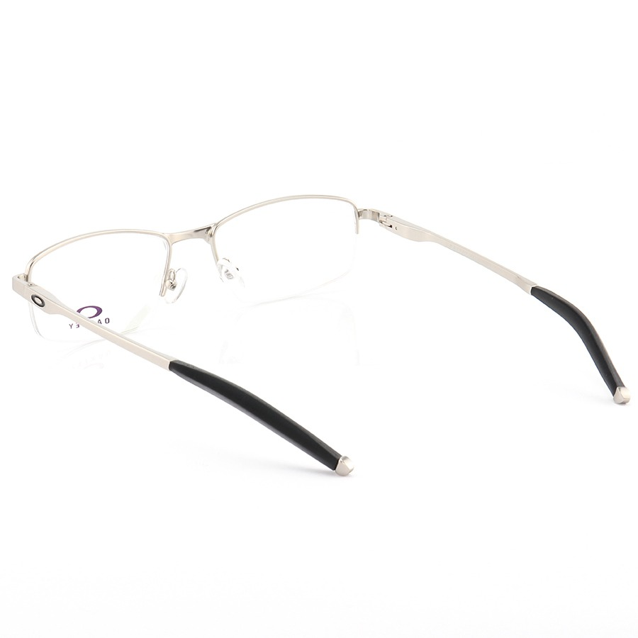 Armação de Óculos Retangular Oakley Meio Aro Steel Plate OX3222 Prata