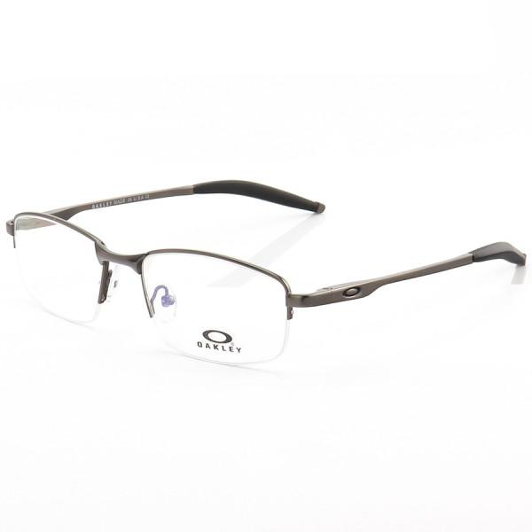 Armação de Óculos Retangular Oakley Meio Aro Steel Plate OX3222 Chumbo