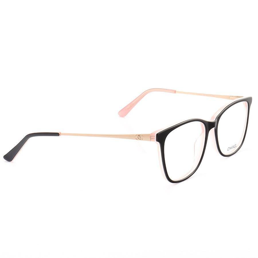 Armação de Óculos Quadrado Chanel CH6822 Preto e Rosa